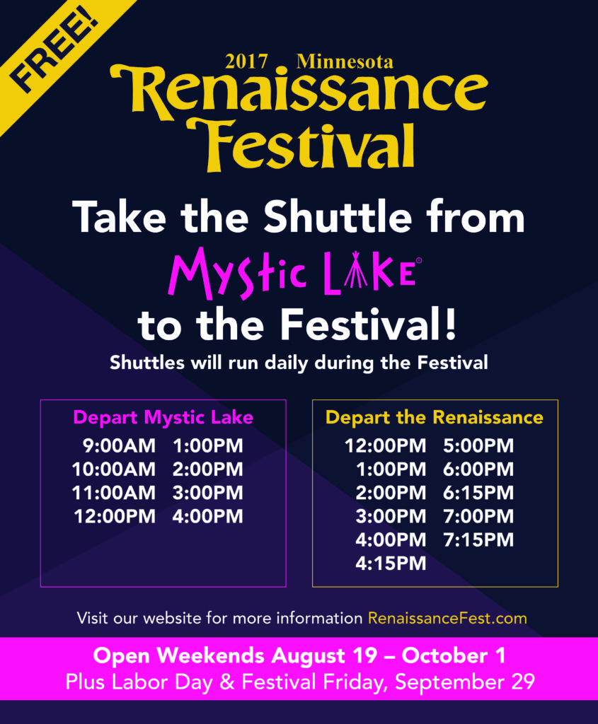 The Minnesota Renaissance Festival is celebrating its 48th season. Enjoy full contact live jousting, 16 stages of entertainment, 50 free family activities, craft beer and shop artisans. Feast like a king and see mermaids, fairies, Vikings and more.